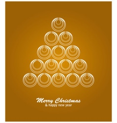 Christmas card with white tree and balls on golden vector