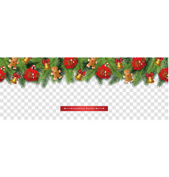 christmas holiday seamless border with tree vector image