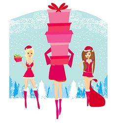 Christmas shopping girls vector image vector image