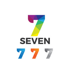 colorful number seven low poly style design vector image