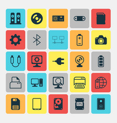 Computer icons set collection of web camera vector