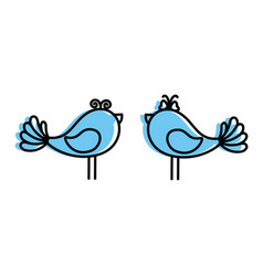 cute couple of birdies vector image