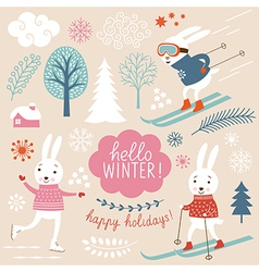 cute rabbits and winter elements vector image