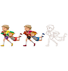 doodle character for people playing rugby vector image