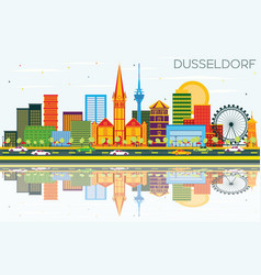Dusseldorf skyline with color buildings blue sky vector