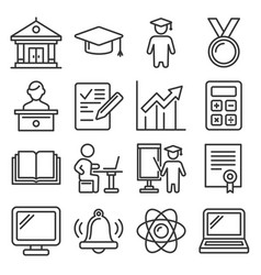 education icons college and school study set vector image