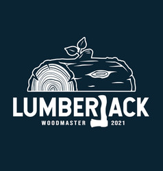 emblem lumber wood with axe lumberjack vector image
