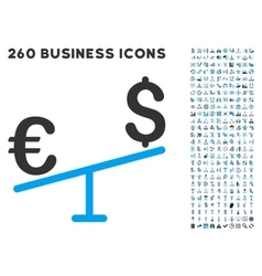 Euro Dollar Swing Icon with Flat Set vector