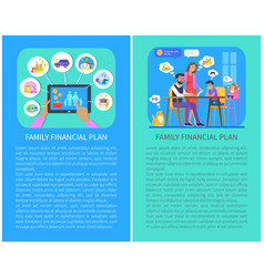 Family financial plan set vector