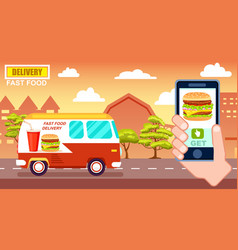 Fast food delivery poster with commercial van vector