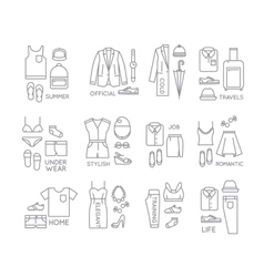 Flat clothes complect icons vector image