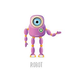 Funny cartoon purple friendly robot vector
