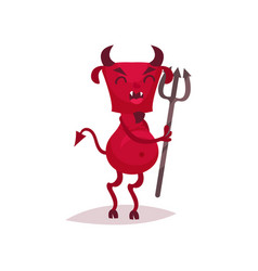 Funny devil with horns and tail holding trident vector