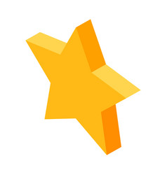 Gold five-pointed star icon for favorite things in vector