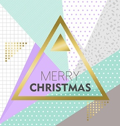 Gold Merry Christmas design on retro background vector