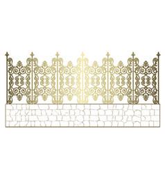Golden wrought iron fence vector