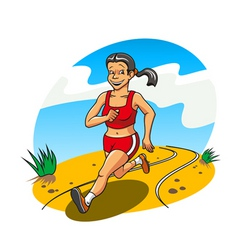 Happy and cheerful running woman for lifestyle con vector