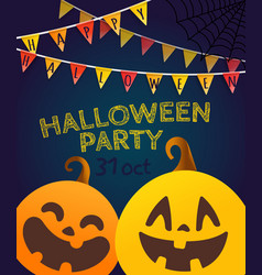 happy halloween garlands on dark background vector image