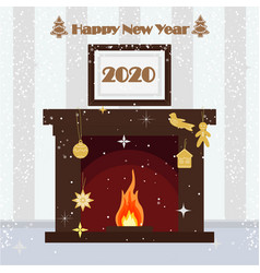 happy new year 2020 christmas fireplace on the vector image