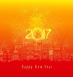Happy new year fireworks 2017 holiday background vector