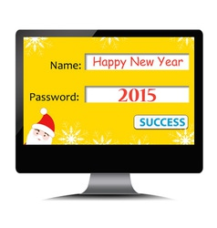Happy new year on computer screen vector