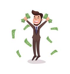 Happy wealthy businessman character standing under vector
