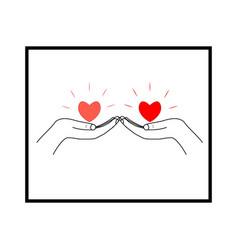 hearts in two palms on white background sign vector image