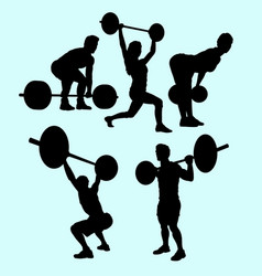 Heavy lifting and fitness male and female silhouet vector