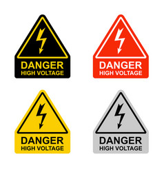 High voltage hazard set signs on a white vector