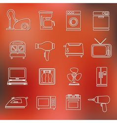 home appliance outline icons vector image
