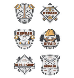 House repair service vintage badges with tools vector
