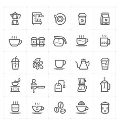 icon set - coffee and tea outline stroke vector image