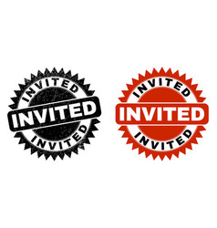 Invited black rosette watermark with scratched vector