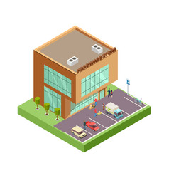 Isometric hardware store location with 3d vector