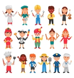 Kids And Professions Icons Set vector