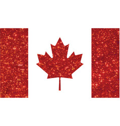 luxury red glitter canada country flag icon vector image