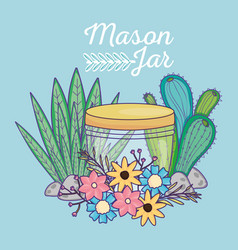 Mason jar flowers cactus foliage leaves stones vector