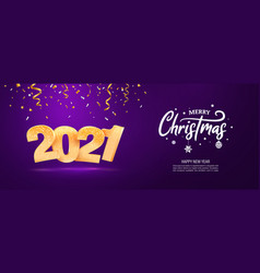 merry christmas and happy new year 2021 web vector image