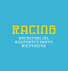 Monospaced slab serif font in cyber style vector