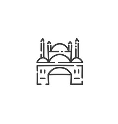 mosque with minarets flat outline icon egypt vector image