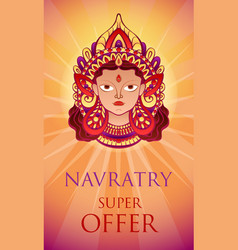 navratry sale offer concept banner cartoon style vector image