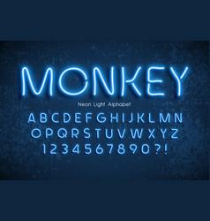 Neon light 3d alphabet extra glowing font vector