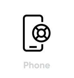 Phone lifebuoy help icon editable line vector