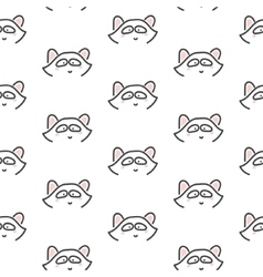Racoon stylized line fun seamless pattern for kids vector image