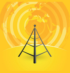 Radio tower transmitter and world map vector