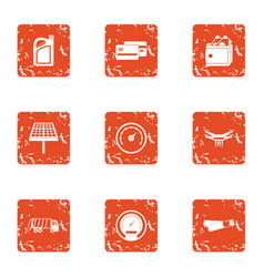 Rapid succession icons set grunge style vector
