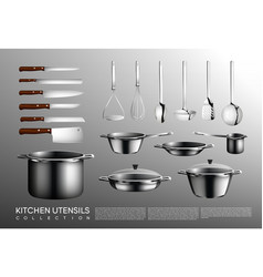 realistic kitchen utensil collection vector image