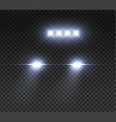 realistic offroad car headlights night road led vector image