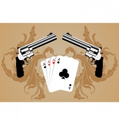 revolver and playing cards vector image