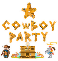 Rodeo cowboy party saloon set of of on the theme vector